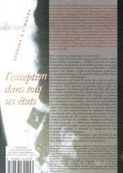 L'exception dans tous ses etats - 4ème de couverture - Format classique