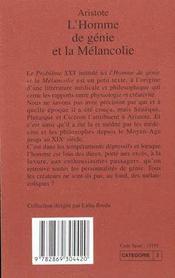 L'Homme De Genie Et La Melancolie - 4ème de couverture - Format classique