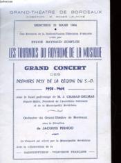 Les Tournois Du Royaume De La Musique - Grand Concert Des Premiers Prix De La Region S. O. - Couverture - Format classique