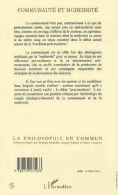 Communaute Et Modernite - 4ème de couverture - Format classique
