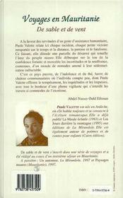Voyages En Mauritanie ; De Sable Et De Vent - 4ème de couverture - Format classique