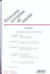 Revue Sciences Sociales Et Sante N.24 ; La Psychiatrie A L'Epreuve De La Génétique - 4ème de couverture - Format classique