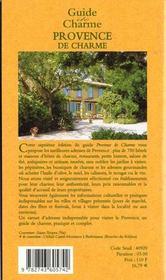 Guide De La Provence De Charme 2000 - 4ème de couverture - Format classique