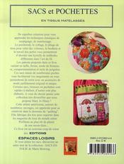 Sacs et pochettes en tissus matelasses - 4ème de couverture - Format classique