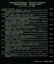 Modifications biologiques, événements géologiques - Couverture - Format classique