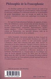 Philosophie De La Francophonie Contribution Au Debat - 4ème de couverture - Format classique