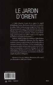 Le jardin d'Orient - 4ème de couverture - Format classique