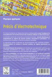 Precis d'electrotechnique ; 1e annee - 4ème de couverture - Format classique