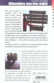 Kilimandjaro Mon Reve Realise - 4ème de couverture - Format classique