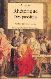 Rhétorique des passions - Couverture - Format classique