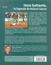 Terre battante ; la legende de Roland Garros - 4ème de couverture - Format classique
