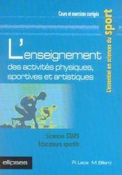 L'Enseignement Des Activites Physiques Sportives Et Artistiques Licences Staps Educateurs Sportifs - Intérieur - Format classique