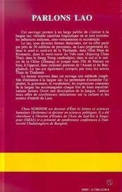 Parlons Lao - 4ème de couverture - Format classique
