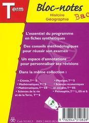 Bloc-Notes Bac ; Histoire-Géographie ; Terminale L, Es, S - 4ème de couverture - Format classique