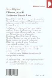 L'Homme incendié. Le roman de Giordano Bruno. - 4ème de couverture - Format classique