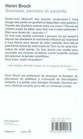 Gourous sorciers et savants - 4ème de couverture - Format classique