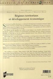 Régimes territoriaux et développement économique - 4ème de couverture - Format classique