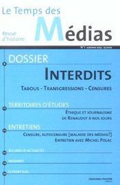 Revue Le Temps Des Medias N.1 ; Interdits ; Tabous, Transgressions, Censures - Intérieur - Format classique