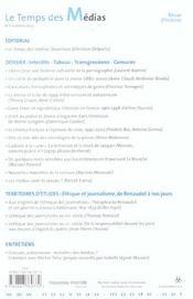Revue Le Temps Des Medias N.1 ; Interdits ; Tabous, Transgressions, Censures - 4ème de couverture - Format classique