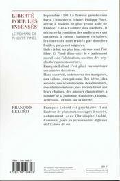 Philippe Pinel ; Liberte Pour Les Insenses - 4ème de couverture - Format classique