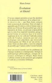 Evolution Et Liberte - 4ème de couverture - Format classique