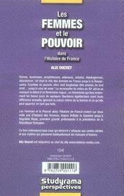 Les femmes et le pouvoir dans l'histoire de france - 4ème de couverture - Format classique