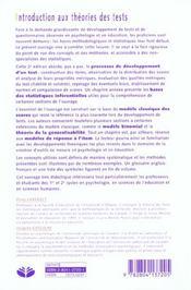 Introduction aux theories des tests - 4ème de couverture - Format classique