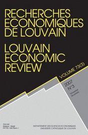 Revue Recherches Economiques De Louvain ; Recherches Economiques Louvain T.73 07/4 - Intérieur - Format classique