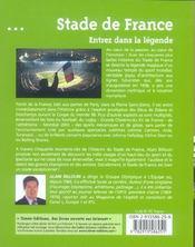 Stade de france ; entrez dans la legende - 4ème de couverture - Format classique