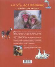 La vie des animaux racontée aux enfants - 4ème de couverture - Format classique