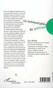 La Communication Du Politique - 4ème de couverture - Format classique