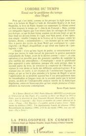 L'Ordre Du Temps ; Essai Sur Le Probleme Du Temps Chez Hegel - 4ème de couverture - Format classique