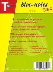 BLOC-NOTES BAC; sciences économiques et sociales ; terminale ES - 4ème de couverture - Format classique