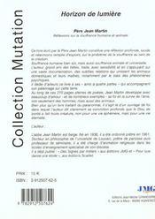 Horizon de lumiere - 4ème de couverture - Format classique