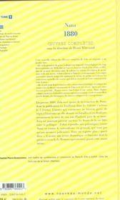 Emile Zola Oeuvres Completes Tome 9 Nana 1881 - 4ème de couverture - Format classique
