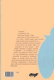 Entre Deux Langues ; Bilinguisme Et Autobiographie ; Textes Commentes - 4ème de couverture - Format classique