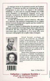 Mariages Mixtes Et Nationalite Francaise - 4ème de couverture - Format classique