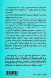 Lexique D'Informatique Francais-Anglais-Berbere - 4ème de couverture - Format classique