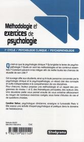 Methodologie Et Exercices De Psychologie ; Premier Cycle - 4ème de couverture - Format classique
