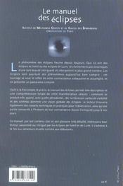 Le manuel des éclipses - 4ème de couverture - Format classique