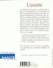 Anxiete (L') -Nne - 4ème de couverture - Format classique