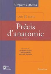 Précis d'anatomie t.2 (11e édition) - Couverture - Format classique