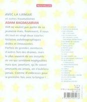 Avec la langue - 4ème de couverture - Format classique