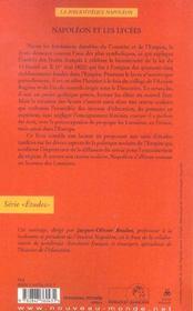 Napoleon Et Les Lycees - 4ème de couverture - Format classique