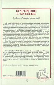 L'Universitaire Et Ses Metiers ; Contribution A L'Analyse Des Espaces De Travail - 4ème de couverture - Format classique