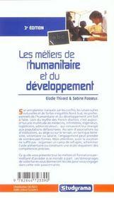Les metiers de l'humanitaire - 4ème de couverture - Format classique
