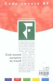 Code Annote Europeen Du Travail. - 4ème de couverture - Format classique