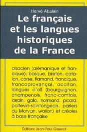 Le francais et les langues historiques de la France - Couverture - Format classique