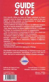 Guide 2005 De L'Eglise Catholique En France - 4ème de couverture - Format classique