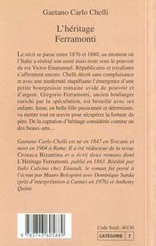 L'Heritage Ferramonti - 4ème de couverture - Format classique